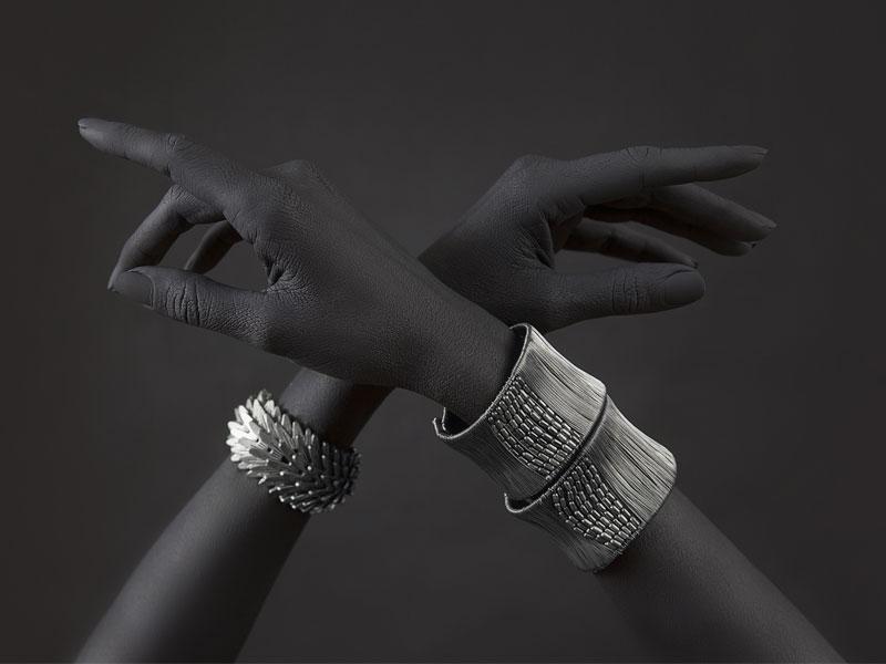 Bracelet Bitang jonc en argent à motifs ethniques